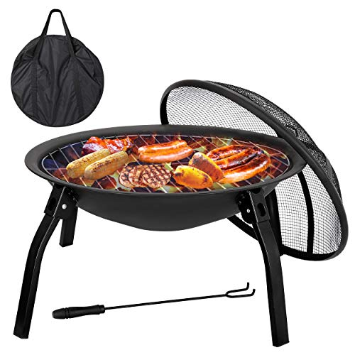 F2C 22 inch Folding Fire Pit Wood Burning Firepace BBQ Grill Steel Round Bowl w/Mesh Spark Scree ...