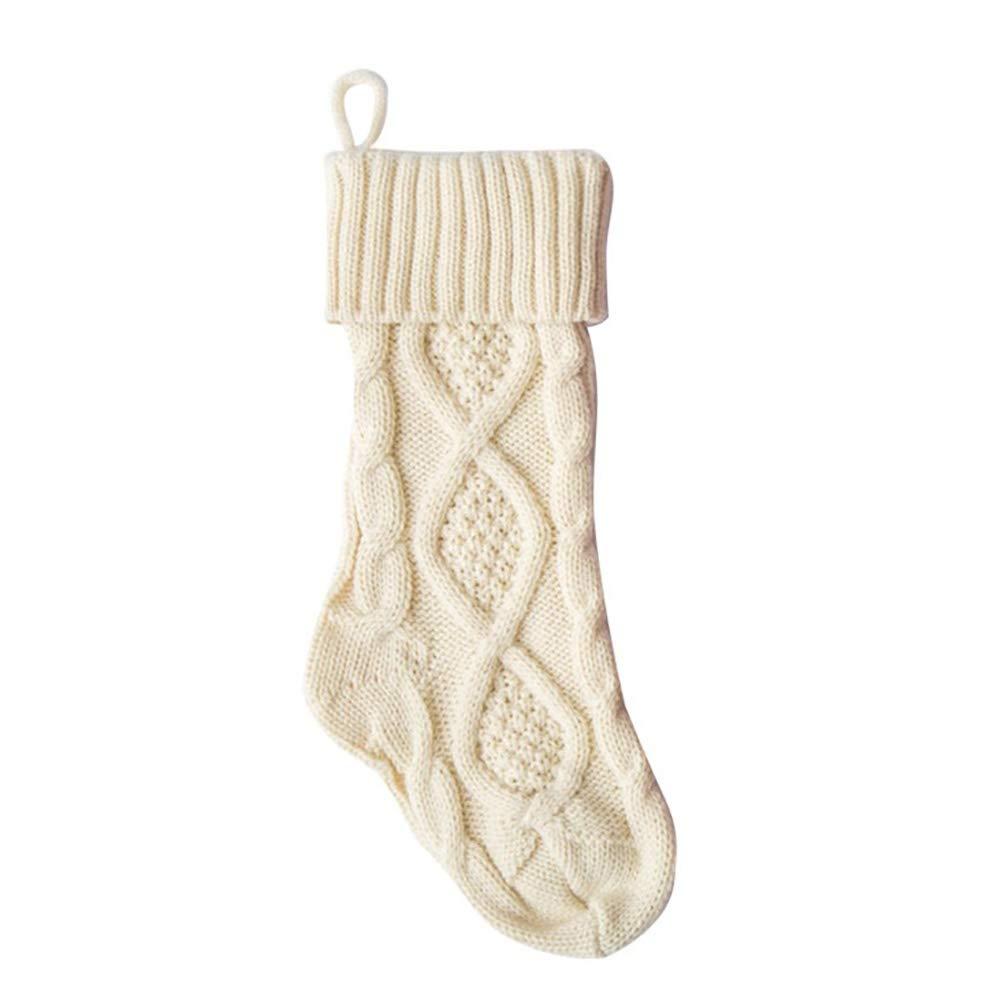 Hankyky Christmas Stocking Chunky Knit Stocking Large (White, S)