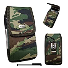 BLU Studio Energy , Studio Energy II , Energy X {AIScell} Camouflage Army CAMO Pouch Premium Vinyl Leather Carrying Holster Belt Clip Loop Case+Carabiner Hook+4'' Stylus Pen