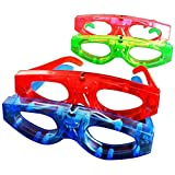 FLASHING EYEGLASSES. Everybody is a star in these flashing glasses! On/off switch. Batteries included. Assorted colors. Each polybagged. Great fror Mardi Gras and St. Patrick's Day!