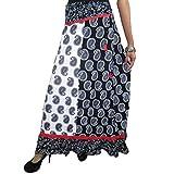 Mogul Mogul Gypsy Skirt Black White Paisley Printed Peasant Maxi Skirts