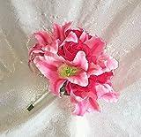 Fuchsia Pink STARGAZER LILIES ROSES HandTied Bridal Bouquet Silk Wedding Flowers
