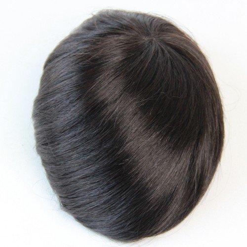 Human Hair Toupee 6x8 Inches Mono Base Men Hair Piece (color 1b)