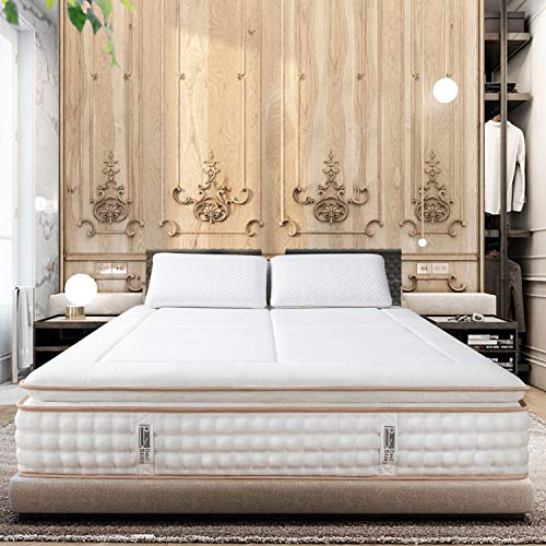 BedStory 12 Inch Queen Mattress, Luxury Hybrid Mattress with Cooling Gel Memory Foam & Individually Encased Spring Coils, Pillow Top Bed Mattress in A Box, Medium Firm Support - CertiPUR-US Certified