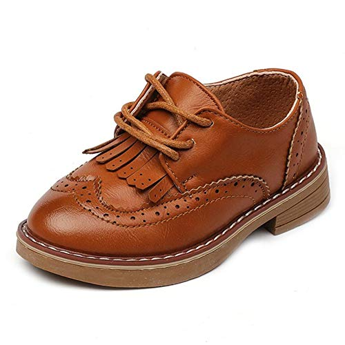 (F-OXMY Boys Retro Two Tone Wing Tips Oxfords Dress Shoes Lace-Up Tassel Casual Shoes Toddler/Little Kids)