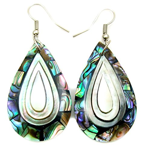 (Natural Mother of Pearl, Paua Abalone Shell Dangle Drop earrings Handmade Jewelry BA258-A)