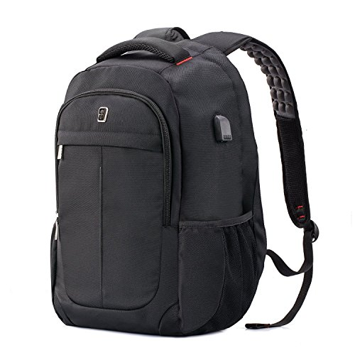 Laptop Backpack,Sosoon Business Laptop Bags with USB Charging Port Polyester Anti-Theft Travel Sports Backpack for 15.6-Inch Laptop and Notebook, Black