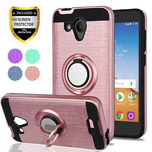 YmhxcY Alcatel 5044R Cell Phone Cases,Alcatel IdealXCITE/Alcatel CameoX/Verso/Ideal Exite Phone Case,360 Degree Rotating Ring & Bracket Dual Layer Resistant Back Cover for 5044R-ZH Rose Gold