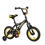 Tauki Kids Bike, 12 Inch Boy's and Girl's Bikes For 2-5 Years with Training Wheels, 95% Assembled, Gifts for Children, Black/Yellow
