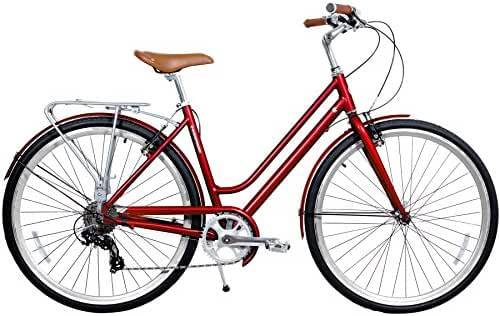 Gama Bikes Women's Metropole Step-Thru 8 Speed Shimano Hybrid Urban Cruiser Commuter Road Bicycle, 700c wheels