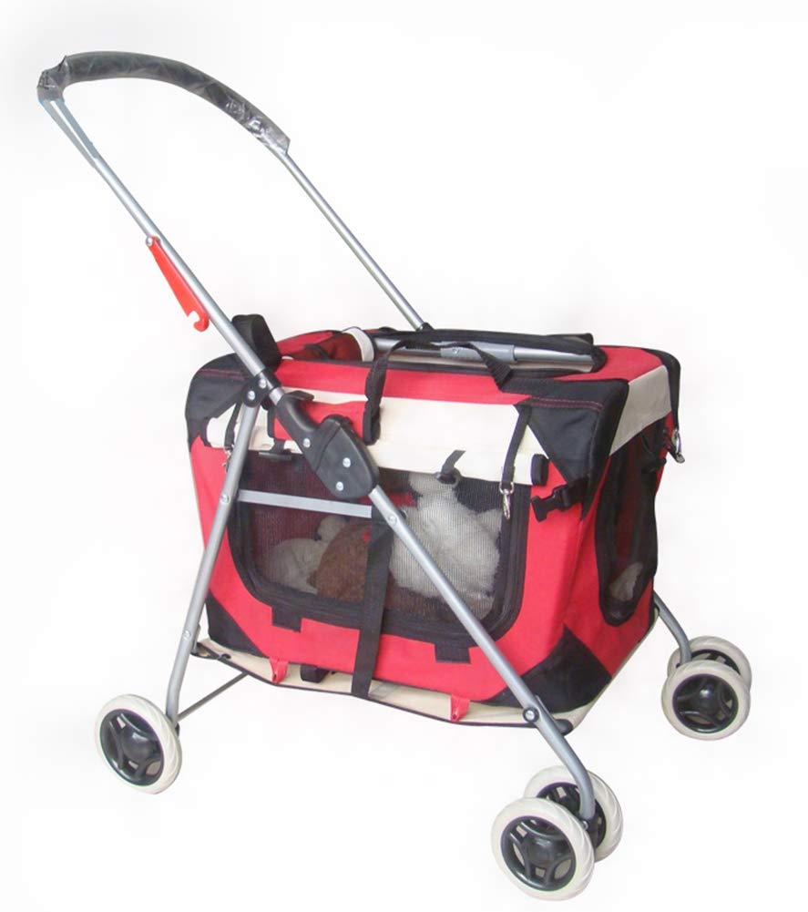 Red Pet Stroller Dog Carrier Trolley Trailer Can be Fixed in The Rear Seat of The Vehicle Foldable Four Rounds Breathable Maximum Weight 15Kg