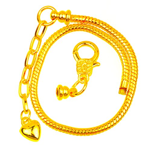 RUBYCA 10pcs Gold Color Heart Lobster European Style Snake Chain Bracelets fit Charm Beads 6.7