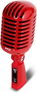 Classic Retro Dynamic Vocal Microphone - Old Vintage Style Unidirectional Cardioid Mic with XLR Cable - Universal Stand Compatible - Live Performance, In Studio Recording - Pyle PDMICR42R (Red), 8.30in. x 3.80in. x 3.40in.