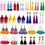 Outee 24 Pairs Tassel Earrings Layered Long Thread Ball Dangle Earrings Bohemian Tiered Tassel Drop Colorful Earrings Fashion Jewelry Multiple Style for Women Girls Birthday Party Gifts