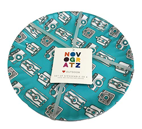Automatic & Film Snapshot Vintage Throwback Cameras Set of 8 Novelty 100% Melamine Indoor/Outdoor Party Plates (10.5 Inch Dinner Plates) -