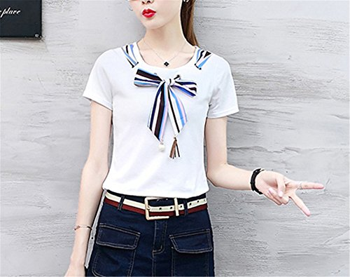 OUXIANGJU New ETE Women Patchwork Shirts Blouse Plus Size Short Sleeve Blusas Striped Bow Tops at Amazon Womens Clothing store: