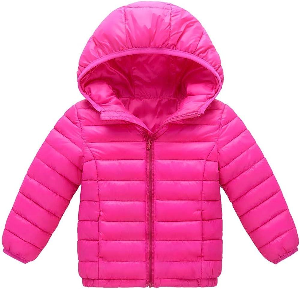XILALU Baby Girl Boy Kids Light Down Jacket,Windproof Zipper Cable Hooded Coat Winter Warm Toddler Snowsuit 18M-8T
