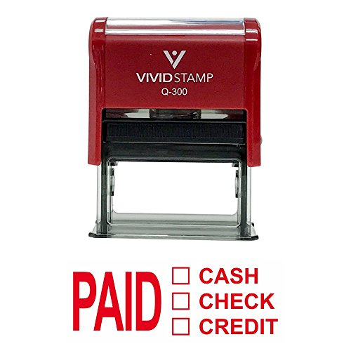 PAID CASH CHECK CREDIT Self Inking Rubber Stamp (Red Ink) - Large