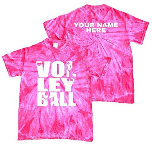 JANT girl Custom Volleyball Tie Dye T-Shirt Stacked Logo (Fuchsia, - Custom Shirt Tie Dye