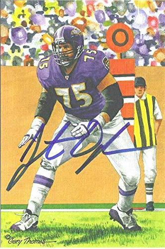 Jonathan Ogden Autographed/Signed Baltimore Ravens Goal Line Art Blue 12628 - Original NFL Art and Prints Baltimore Ravens Goal Line