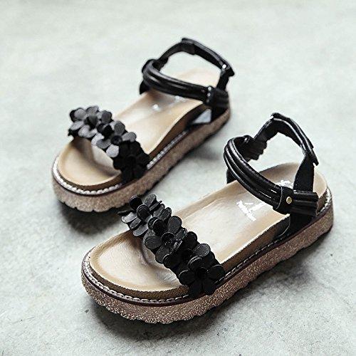 RUGAI-UE Las mujeres sandalias de verano zapatos inferior Black