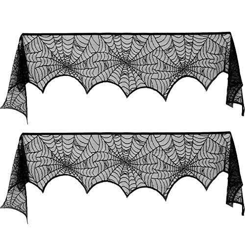 Blulu 2 Pieces Spiderweb Fireplace Mantle Scarf Lace Halloween Decoration Cover for Halloween Home Party Supply, Black, 18 by 96 inch]()
