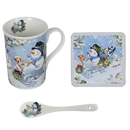Snowman and Friends 10 ounce Ceramic Mug, Spoon and Coaster Gift Box Set of -