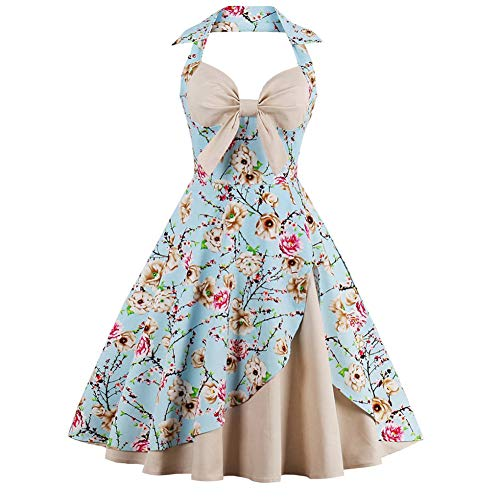 Suroomy Vintage Halter Cocktail Dress 1950S Retro Swing Homecoming Dresses Floral Print Size ()