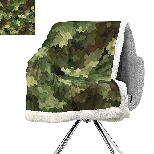 ScottDecor Camo Lightweight Microfiber Blankets,Frosted Glass Effect Hexagonal Abstract Being Invisible Woodland Print,Green Pale Green and Brown,Flannel Throw Blanket Lightweight Soft Warm Blanket
