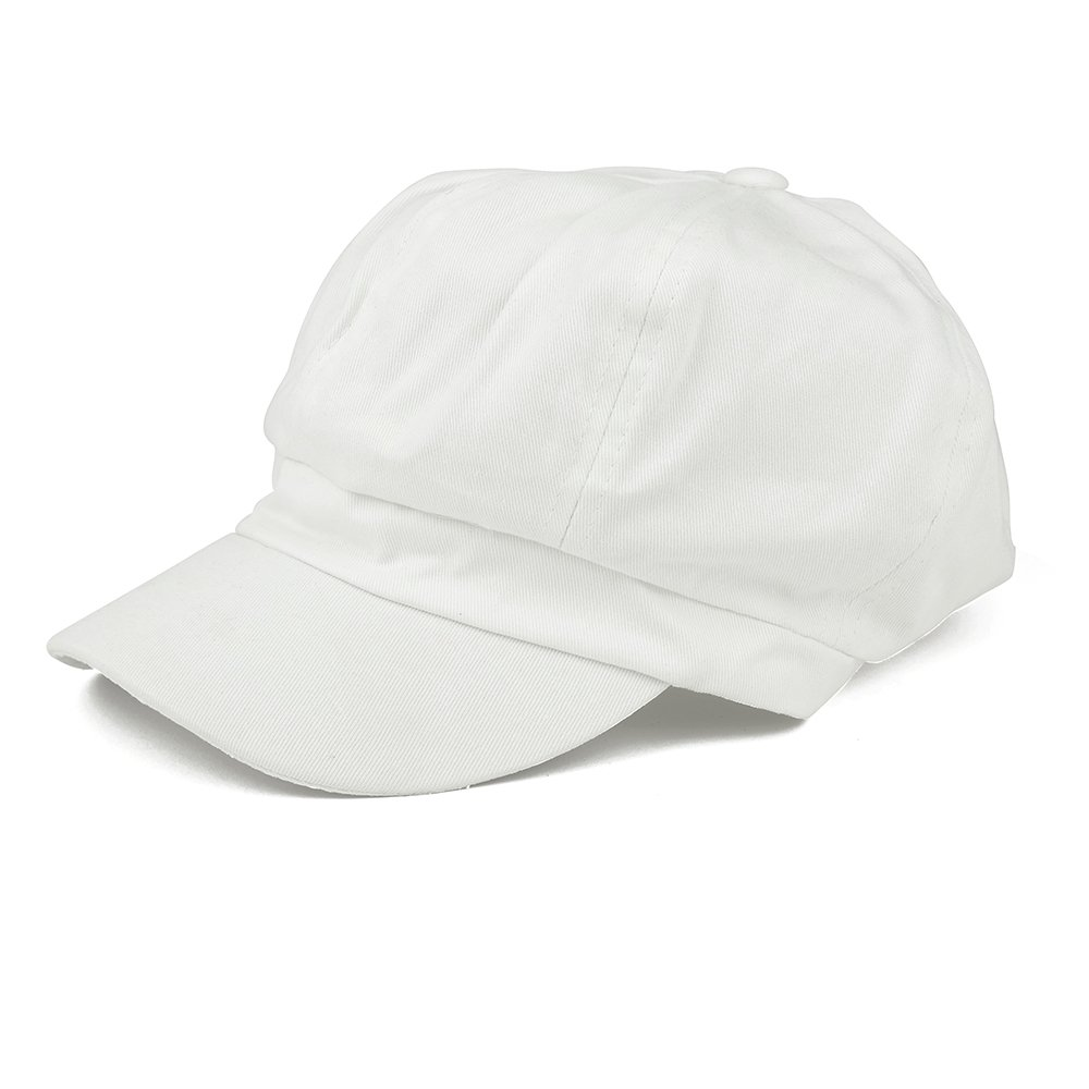 Armycrew Women's Lightweight 100% Cotton Soft Fit Newsboy Cap with Elastic Back - White