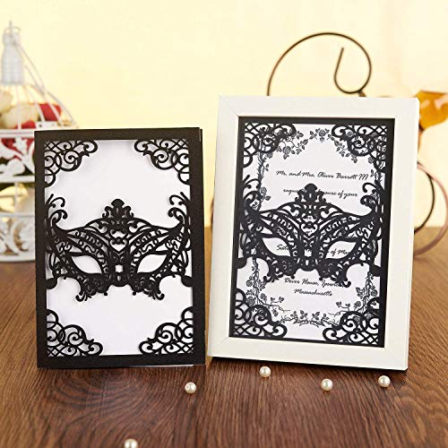 KAZIPA 25pcs Laser Cut Wedding Invitations, 5×7 Black Masquerade Party Invitations with Envelops for Baby Shower Bridal Shower Wedding Halloween Graduation Dance Party