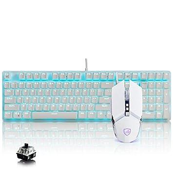 HTACSA Mecánica Traje De Teclado Y Ratón con Cable USB De Retroiluminación del Teclado Y El Ratón del Teclado,Blanco (Luz Azul) para Pc Y Laptop Gamer: ...