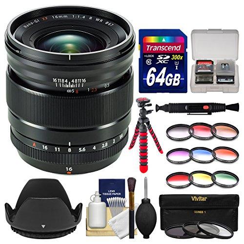 Fujifilm-16mm-f14-XF-R-WR-Lens-with-3-UVCPLND8-9-Colored-Filters-64GB-Card-Tripod-Hood-Kit