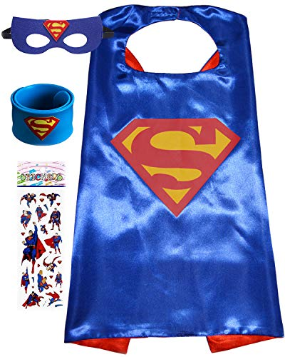 Superhero Dress Up Costume for Kids, Satin Cape and Felt Mask - Birthday Gifts for Boys Girls