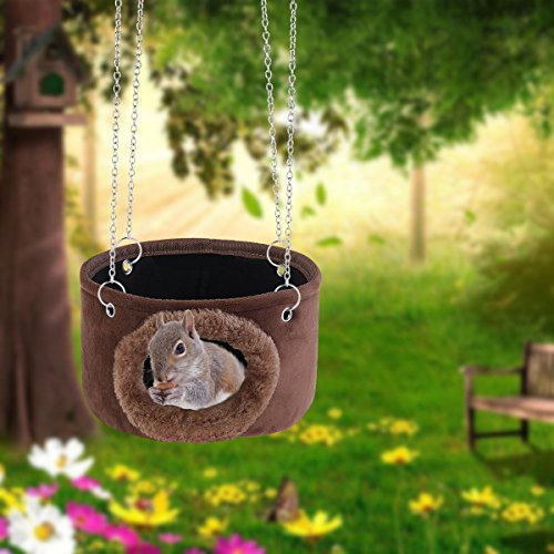 FidgetFidget Hammock Hanging Snuggle Cave Hut for Squirrel Chinchilla Guinea Pig Rat &4Chains from FidgetFidget