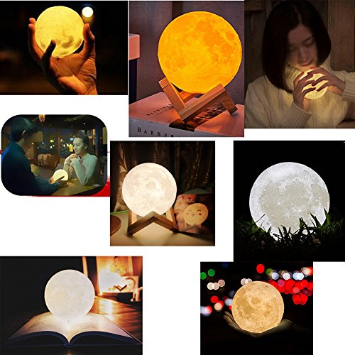 Moon Lamp 3D Printed Remote Control Night Light 16 RGB Colors Changing Dimmable LED Mood Light USB Rechargeable Moonlight 12cm/4.7 inch With Wood Stand (12cm) by Sourcebuy (Image #1)