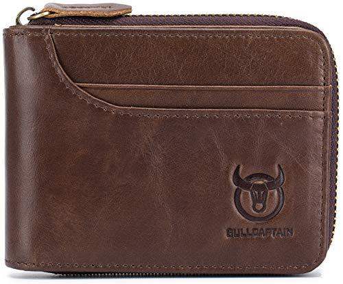 (Men's Genuine Leather Wallet,RFID Blocking Short Zip Around Bifold Purse Vintage Multi Secure Card Holder with ID Window (Brown))