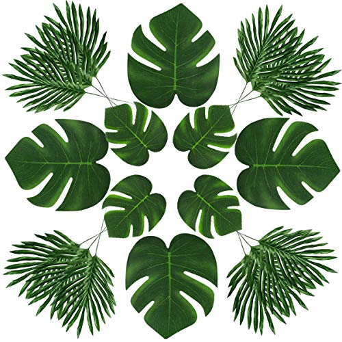 48 Pcs Artificial Palm Leaves - 3 Kinds Artificial Fake Tropical Palm Leaves Imitation Plant Leaves for Home Kitchen Decor, Hawaiian Beach, Summe Party Decorations