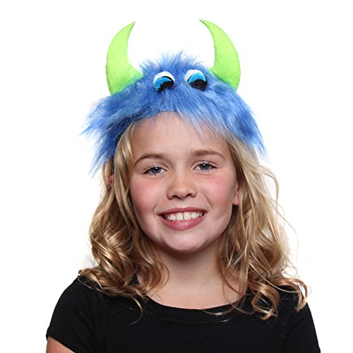 [Blue & Green Furry Monster Headband] (Alien Dress Up Ideas For Kids)