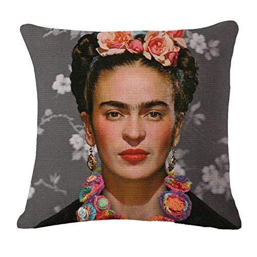 N / A Funda de cojin Tela Frida Kahlo Funda de Almohada de Flores de Colores Fundas de Almohada Tejida Funda de cojin de poliester y Lino para decoracion del hogar para sofa