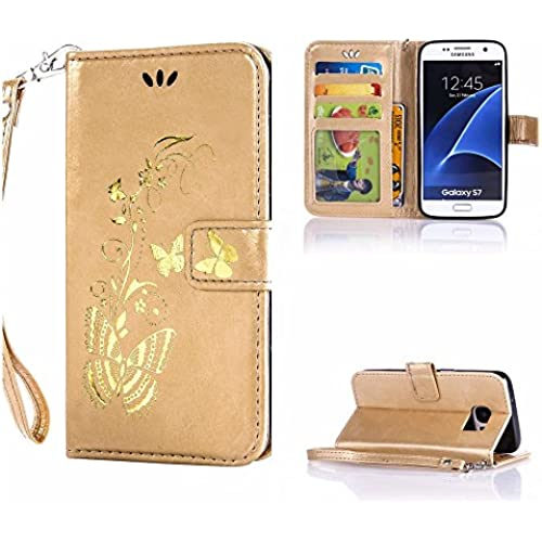 S7 case wallet,Cell Phone Case for galaxy S7,Yuncase Cover Holster Money Slot Girls Stand View Perfect Fit Samsung galaxy S7 (golden) Sales