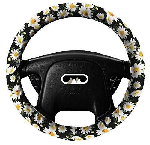 The Mod Mobile Steering Wheel Cover (Daisies and Ladybugs) Lightly Padded Daisy Floral Flower Ladybug Standard Size Wheel Car Accessories Automobile Black White Red Yellow (Mod Ladybug)