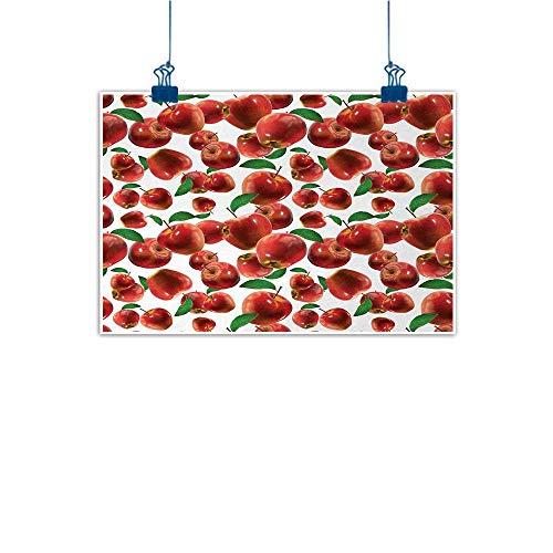 "Sunset glow Decorative Art Print Apple,Rubin Variety of Apple Farm Produces Scattered Autumn Season Fruits Photo,Lime Green Burgundy 24""x20"" for Boys Room Baby Nursery Wall Decor Kids Room Boys Gift"