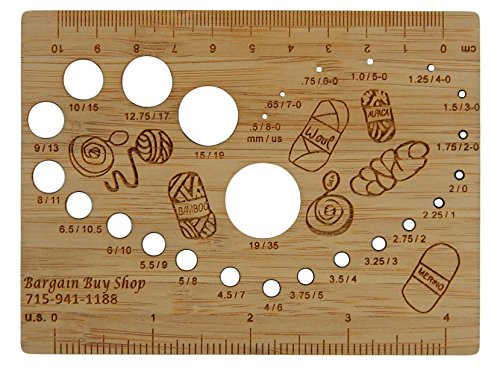Stitch Ruler (Bamboo Knitting Needle Gauge and Ruler or Stitch Counter in US and Metric (4 Inch))