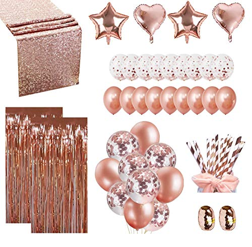 Luxomi Rose Gold Party Decorations Supplies 52 Pack - 18 inch Foil Balloons, Confetti Balloons, Sequin Table Runner, Fringe Curtain and Paper Straws for Bachelorette, Bridal Shower or Birthday Party