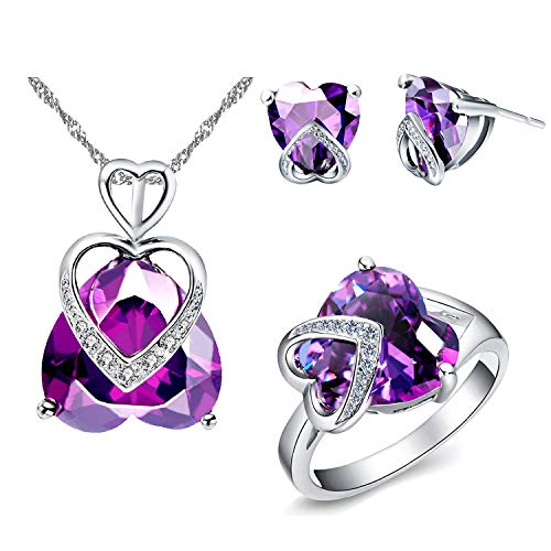 Uloveido Women Romantic Purple Crystal Love Heart Pendant Necklace Oval Cut Stud Earrings Wedding Halo Ring 18k White Gold Plated Wedding Jewelry Sets for Brides (Purple, Size 8) T086