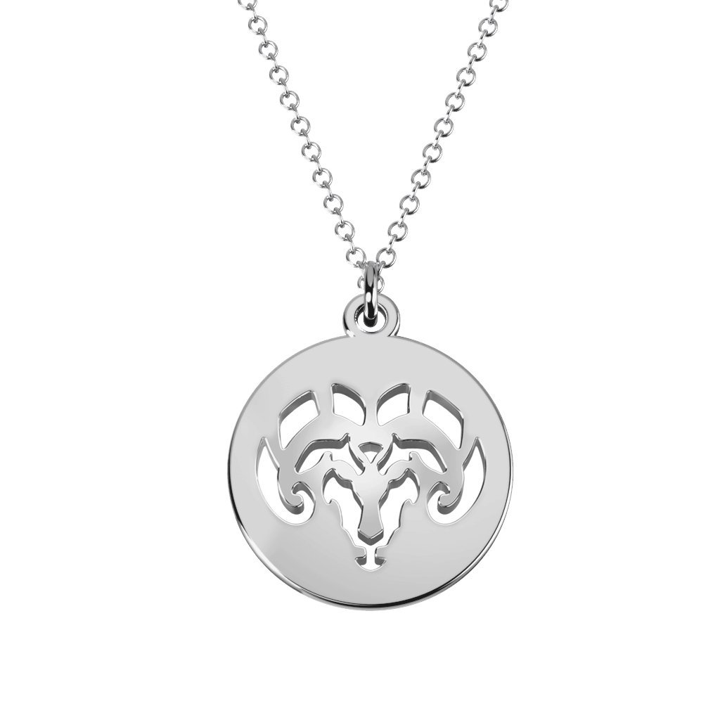 14K Gold Aries Zodiac Sign Cutout Disc Necklace by JEWLR