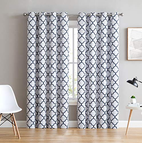 "HLC.ME Lattice Print Thermal Insulated Blackout Room Darkening Window Curtains for Bedroom - Platinum White & Navy Blue - 52"" W x 96"" L - Pair"