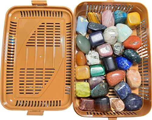 Crystal Piece 500 - ALDOMIN Natural Energized 30 Pieces Mix Healing Crystal Tumble Stones (30 Pieces 450 to 500 Gram)