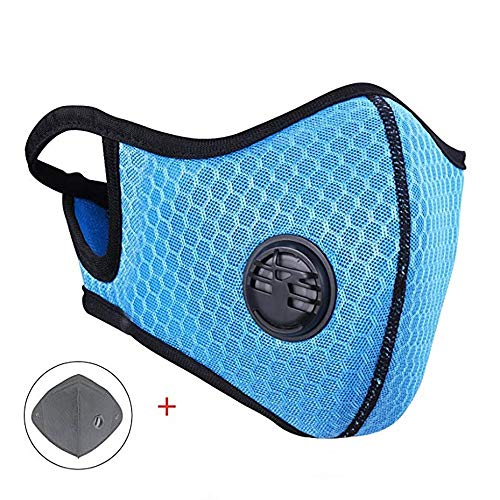 Dust Mask MLD Dustproof Mask Upgrade Summer Fitness Masks with Earloop Adjustable Activated Carbon Filtration Exhaust Anti Pollen Allergy for Outdoor Activities ()